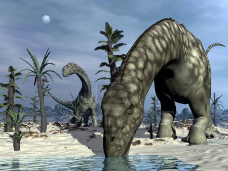 Argentinosaurus dinosaur drinking - 3D render
