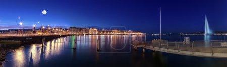 Photo pour Fontaine, le pont du Mont-blanc et du Rhône par nuit, Genève, Suisse - image libre de droit