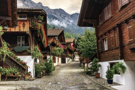 Photo pour Rue du village de Brienz, canton de Berne, Suisse - image libre de droit