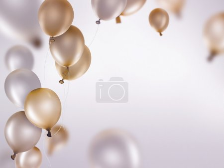 Photo for Silver and gold balloons on light background - Royalty Free Image
