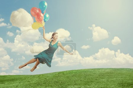 Woman Floating like Levitation Fantasy Image