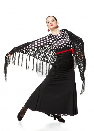 Photo for Flamenco dancer isolated on white background - Royalty Free Image