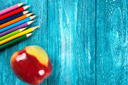 Photo for Office and school supplies on wooden surface. - Royalty Free Image