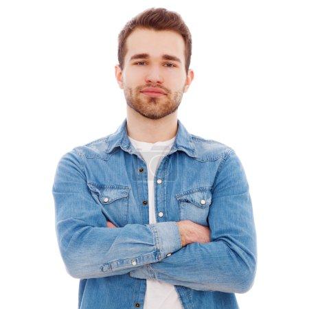 Photo pour Portrait d'un jeune homme isolé sur fond blanc - image libre de droit