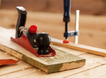 Woodworking tools on a carpenters table