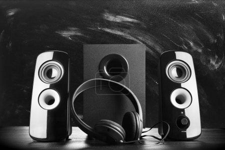 Modern black sound speakers
