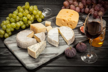 Photo for Wine and cheese still life - Royalty Free Image