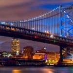 Philadelphia skyline panorama and Ben Franklin Bri...