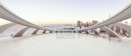 floor with cityscape of San Francisco background