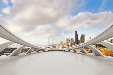 Photo for Empty marble floor with cityscape and skyline of Seattle - Royalty Free Image