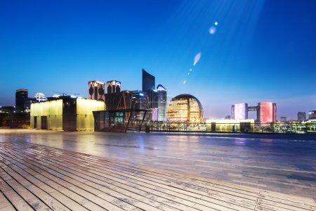 empty floor with cityscape and skyline of Hangzhou