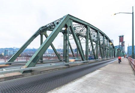 steel footpath near road on bridge in Portland