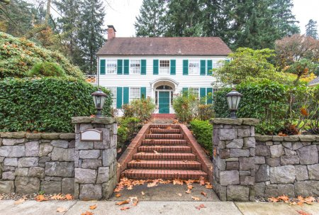 steps in yard and residential house in Portland