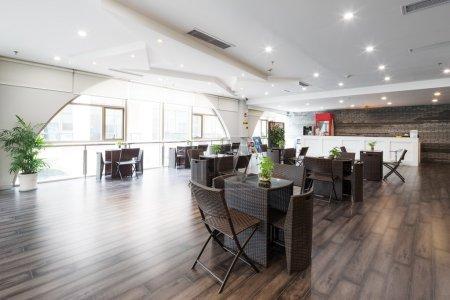 interior of coffee bar in modern gym