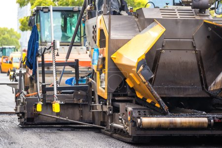 asphalt pavement roller on road