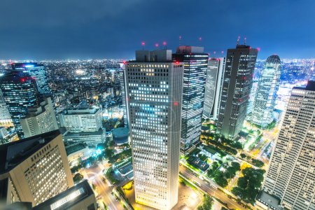 office buildings in downtown of Tokyo at night
