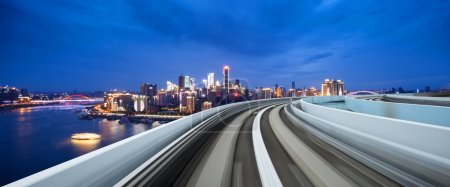 Photo for Busy traffic on highway near downtown of Chongqing at twilight - Royalty Free Image