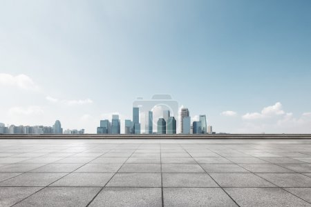 cityscape and skyline of Chongqing from empty floor
