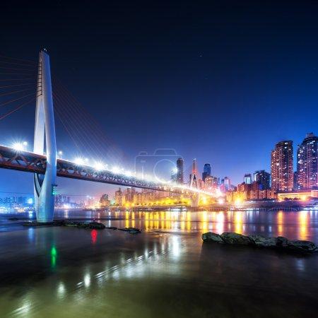 cityscape and skyline near bridge of Chongqing at night