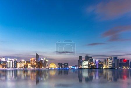 Night scene of Hangzhou Qianjiang new city from wa...