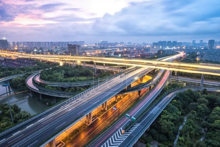 Photo for Road junction in Hangzhou at twilight - Royalty Free Image