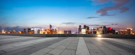 Illumninated Hangzhou qianjiang new city from empt...