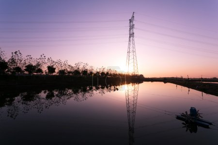 high voltage transmittion tower and landscape