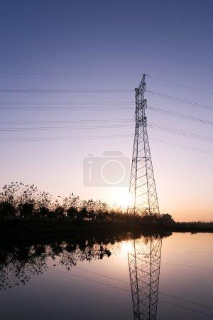 High voltage transmittion tower and landscape