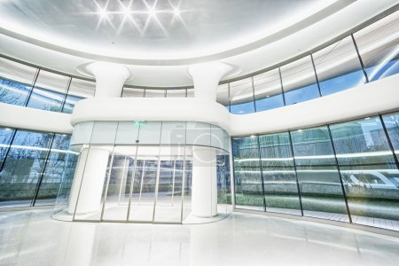 Photo for Futuristic modern office building interior in urban city - Royalty Free Image