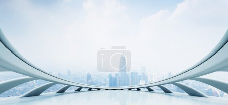 Photo for Modern skyscraper view looking from futuristic style window with cloudscape - Royalty Free Image