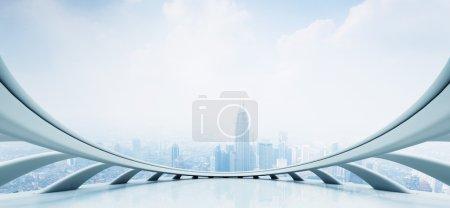 Foto de Vista de rascacielos modernos, mirando desde la ventana de estilo futurista con cloudscape - Imagen libre de derechos