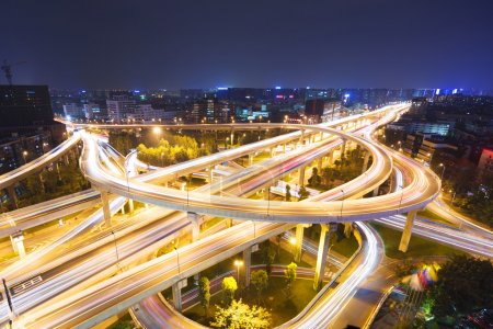 Photo for Skyline and traffic, flyover in modern city. - Royalty Free Image