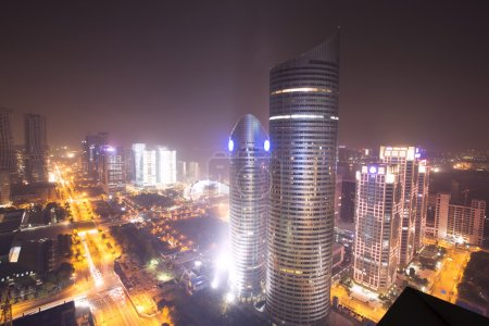 Photo for Skyline traffic and buildings of modern city hangzhou at night. - Royalty Free Image
