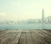 """Постер, картина, фотообои """"панорамный городской пейзаж горизонта и небоскребы"""""""