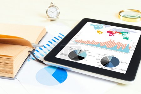 Digital tablet  with financial chart report