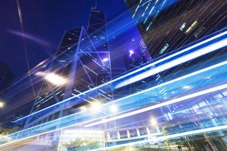 Photo for Traffic light trails at modern city street,hongkong. - Royalty Free Image