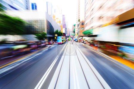 Photo pour Mouvement de flou de la circulation dans la ville moderne Hong Kong - image libre de droit