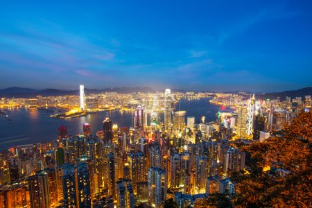 Photo for Skyline and cityscape of modern city hongkong at night - Royalty Free Image