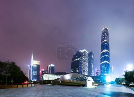 Photo for Illuminated modern cityscape and office buildings - Royalty Free Image