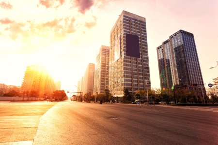 Skyline,urban road and office buildings
