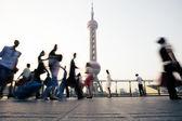 Landmark and walking people in Shanghai