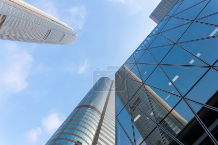 up looking skyscraper and office building exterior