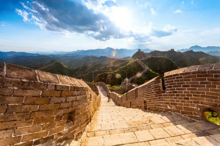 Photo for Great wall under sunshine during sunset, China - Royalty Free Image