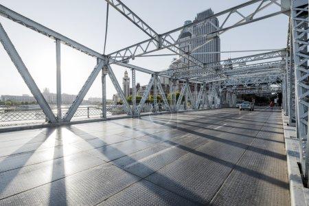 modern bridge and empty road floor