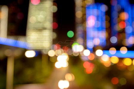 Defocused Illuminated modern city and buildings