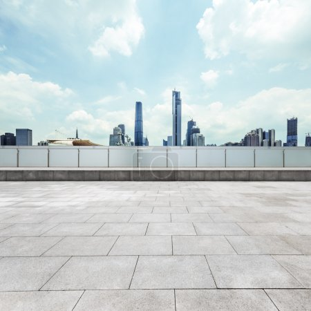 Photo for Empty, modern square and skyscrapers in modern city - Royalty Free Image
