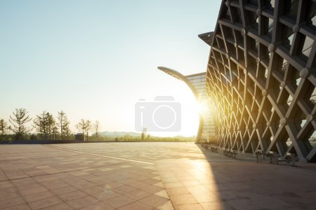Photo for Museum close to empty square at dusk - Royalty Free Image