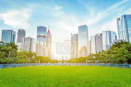 Public green space and skyscrapers