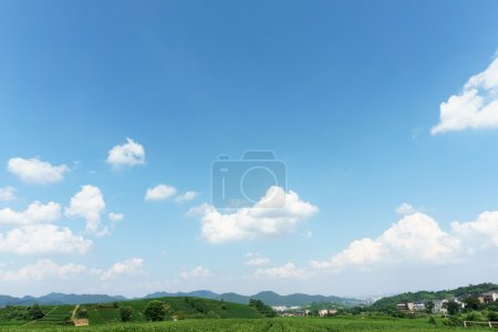 village under clear, blue sky and white clouds