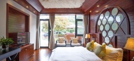 interior of empty hotel bedroom